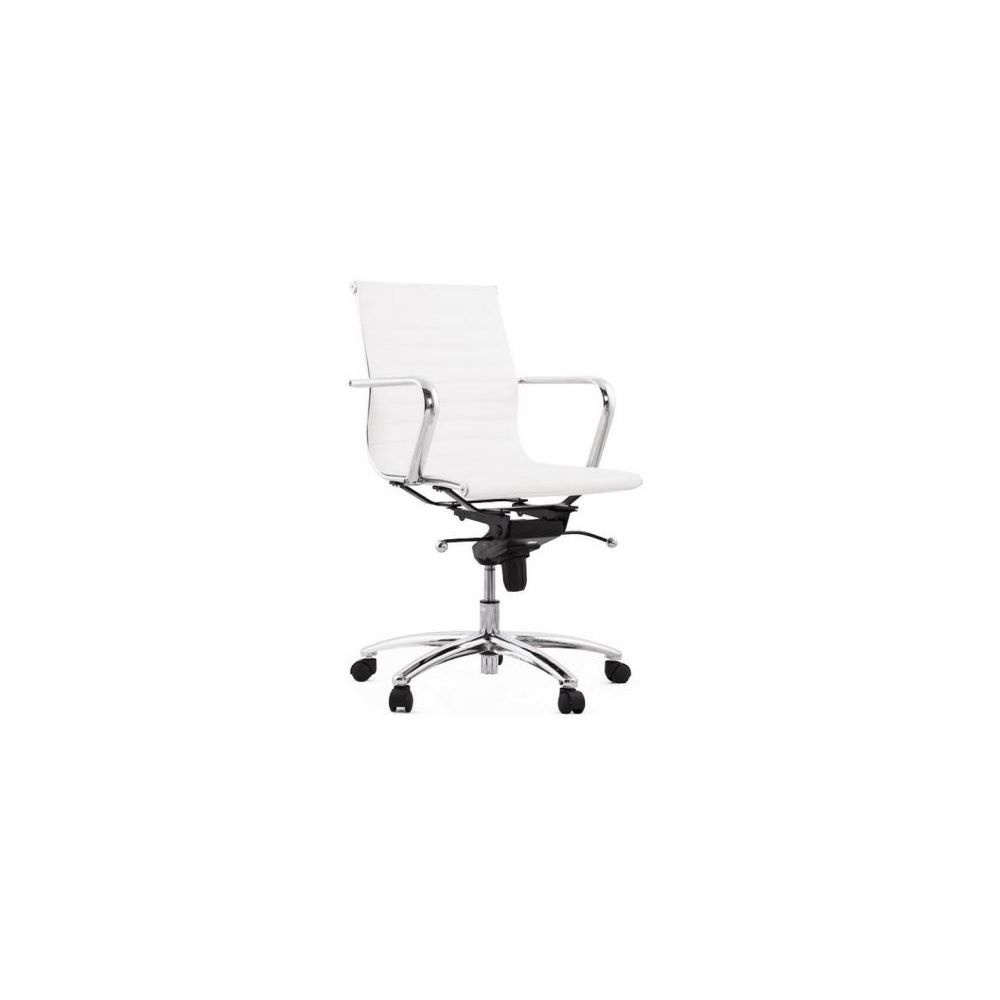Kokoon Design Chaise de bureau simili cuir blanc