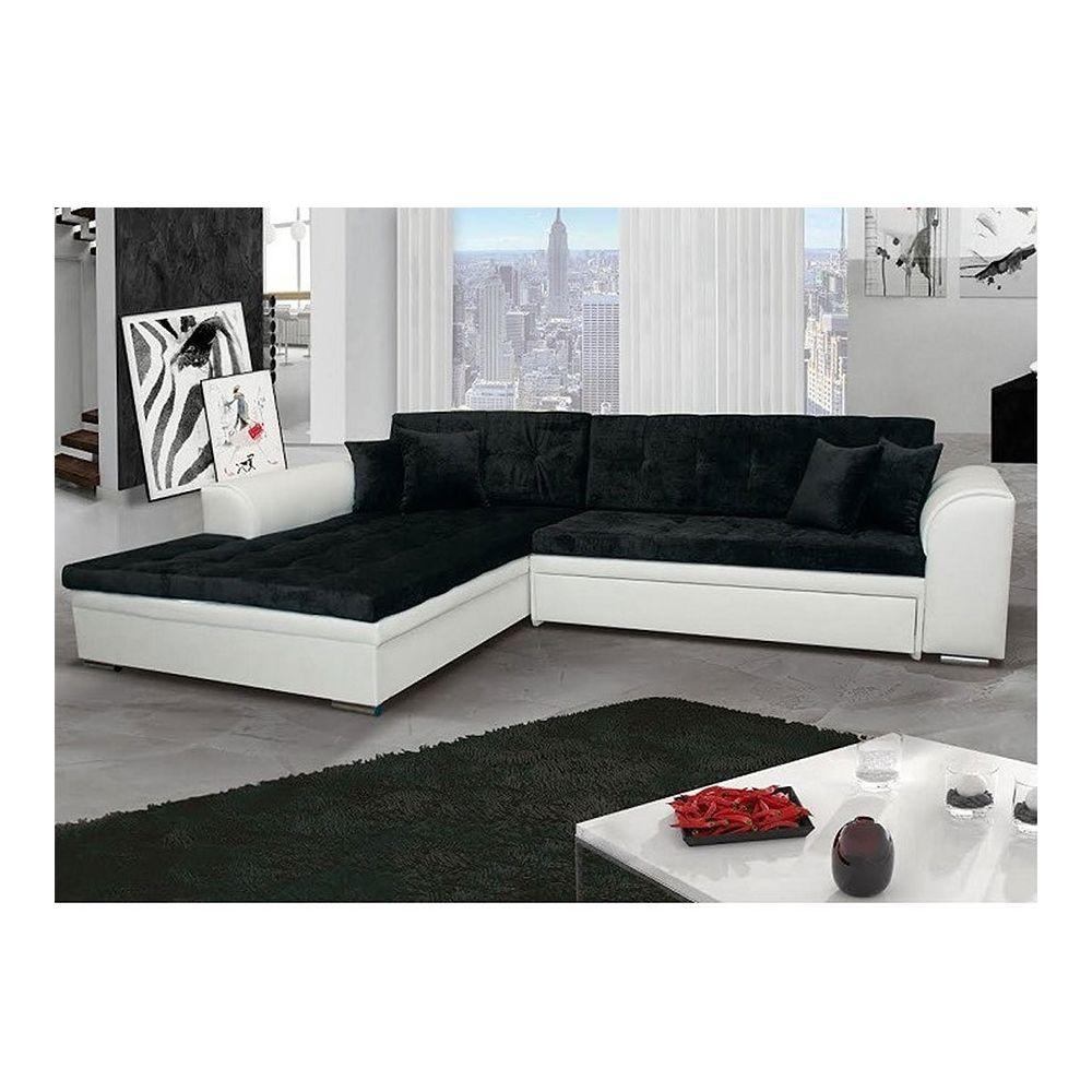 Kasalinea Canapé d'angle convertible noir et blanc MARCIA 3