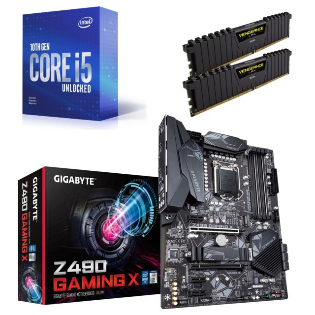 Intel - Core i5-10400F - 2.9/4.3 GHz + Vengeance LPX 16 Go (2 x 8 Go) - DDR4 3200 MHz Cas 16  + Z490 GAMING X - ATX - Kit d'évolution