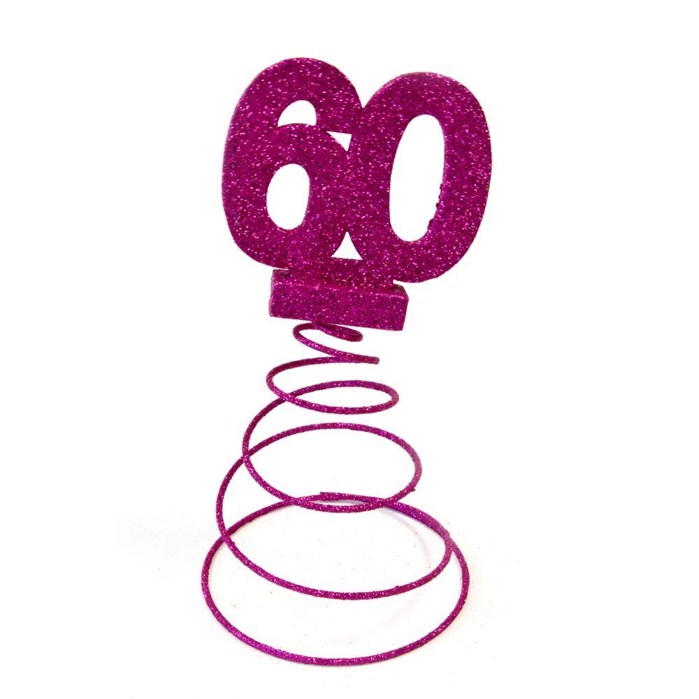 Visiodirect Lot de 10 Centres de table pour anniversaire 60 ans - fuschia pailletée