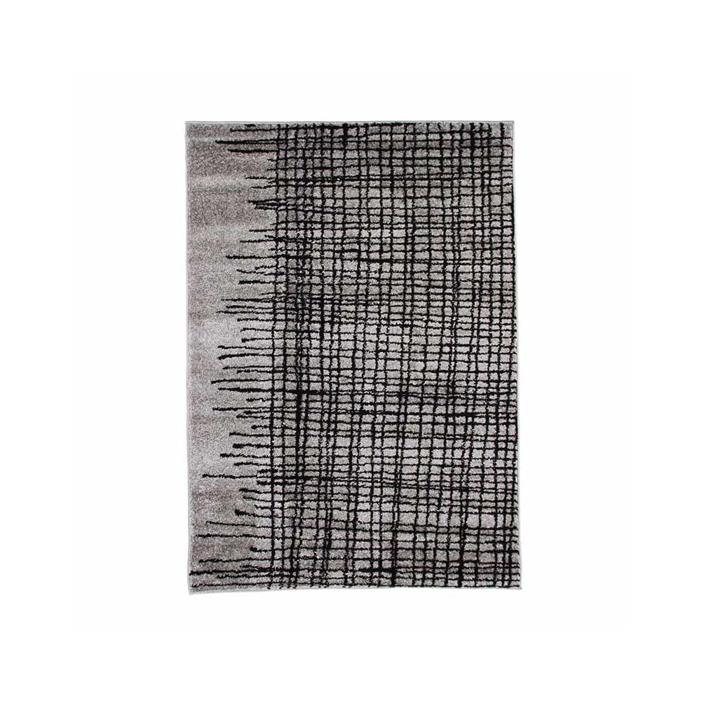 Mon Beau Tapis ABSTRACT - Tapis poils courts imprimé lignes croisées gris 120x170