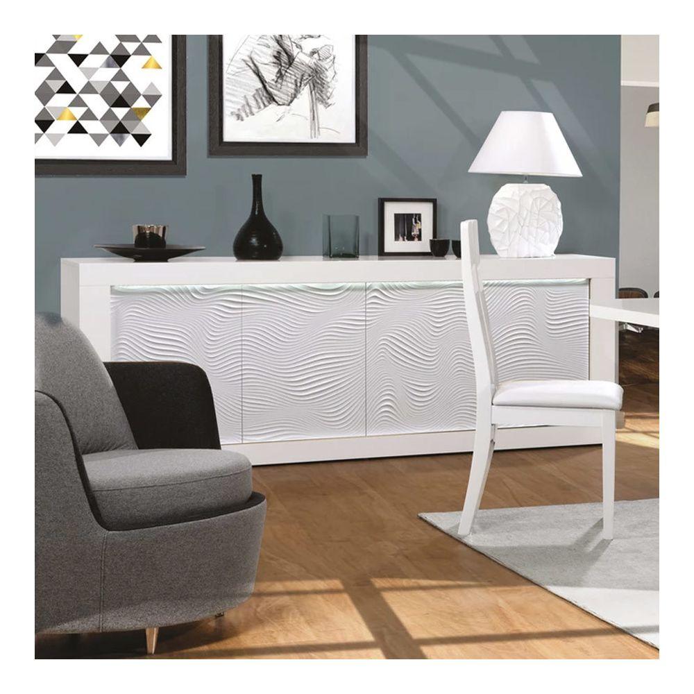 Nouvomeuble Buffet lumineux blanc laqué design KARL