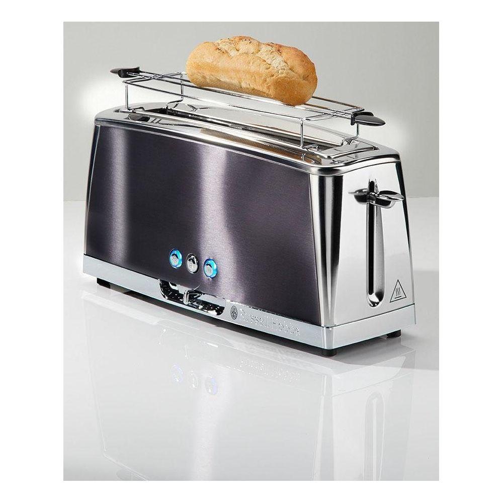 Russell Hobbs Grille-pain Gris Clair de Lune - Technologie Fast Toast, 55% plus rapide, 1 longue fente, réch. Viennoiserie