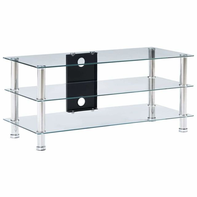 Helloshop26 - Meuble télé buffet tv télévision design pratique transparent 90 cm verre trempé 2502218 - Helloshop26