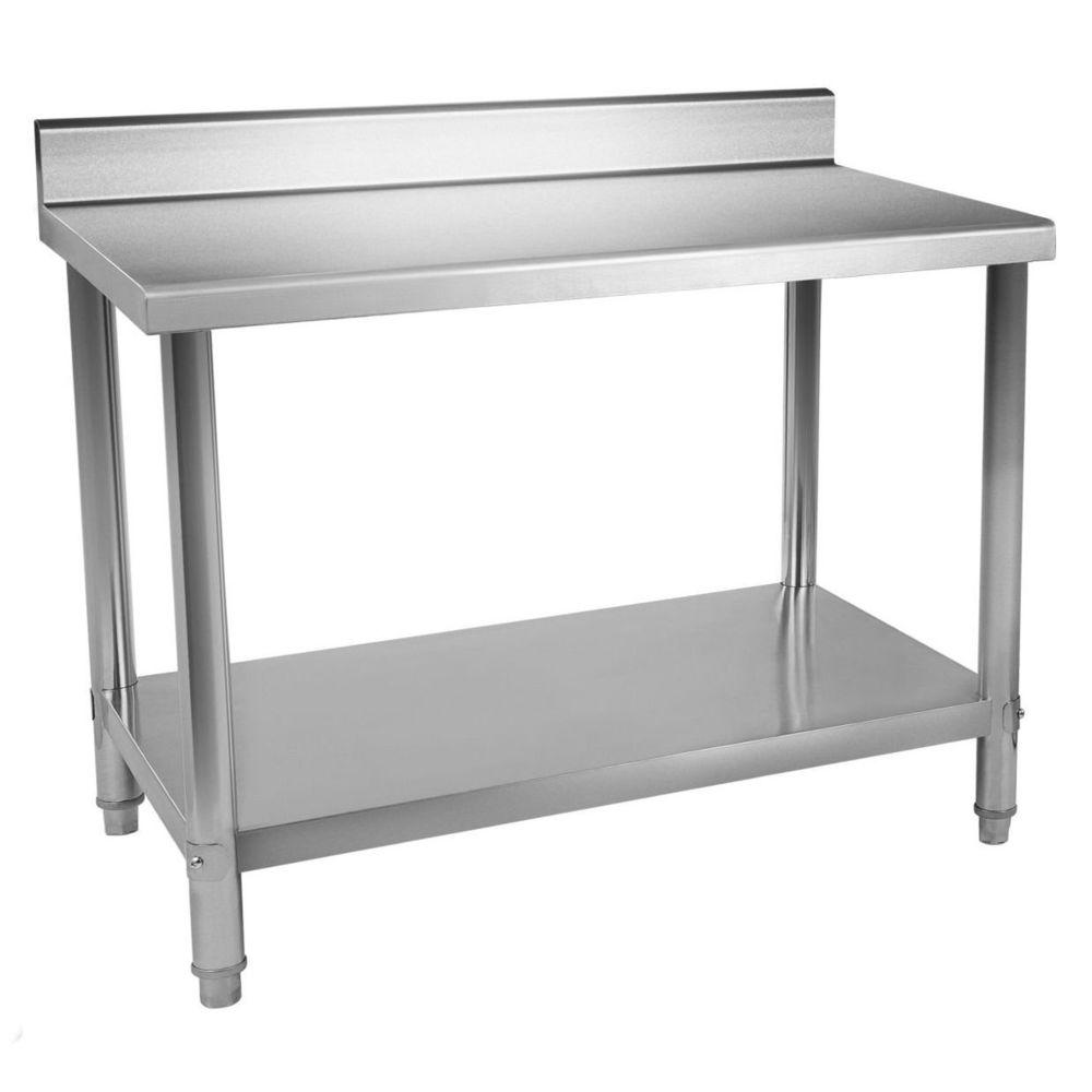Helloshop26 Table de travail professionnelle acier inox pieds ajustable avec rebord 100 x 70 cm 3614082