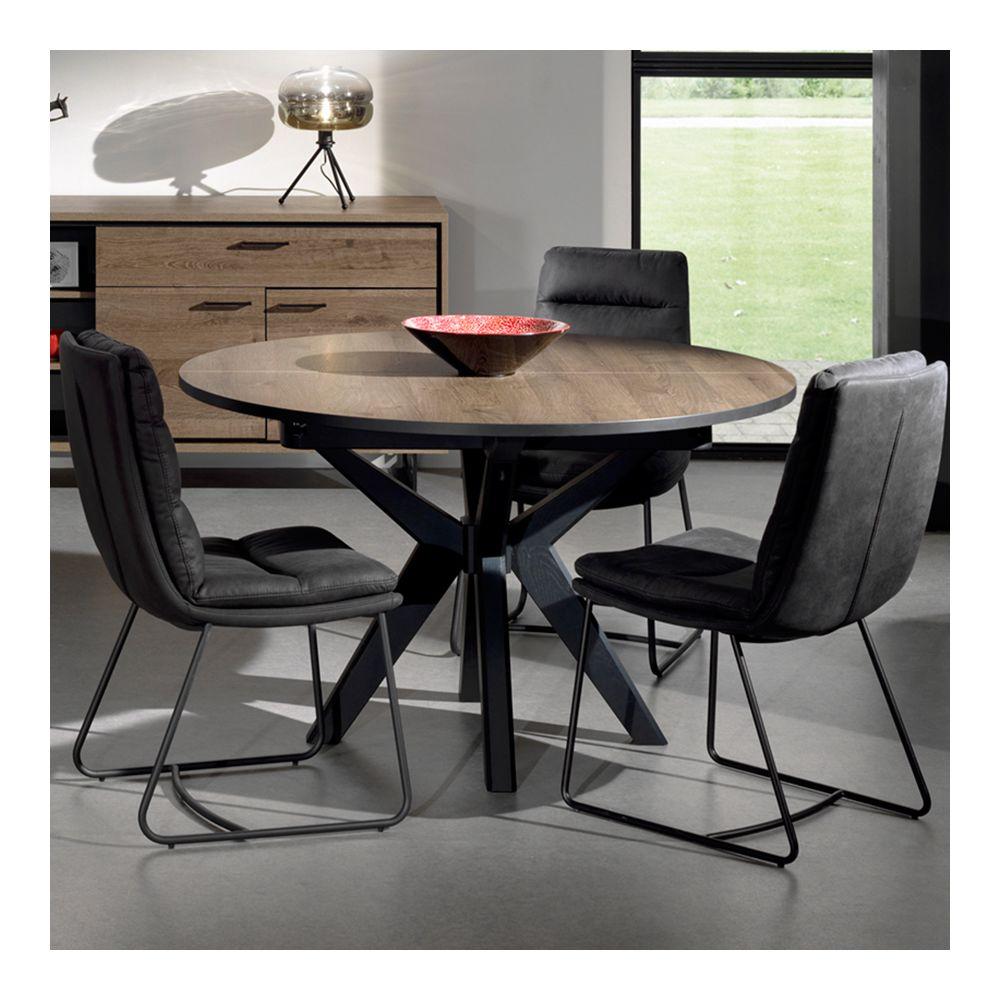 Nouvomeuble Table ronde extensible 130 cm couleur chêne foncé ESTELLE