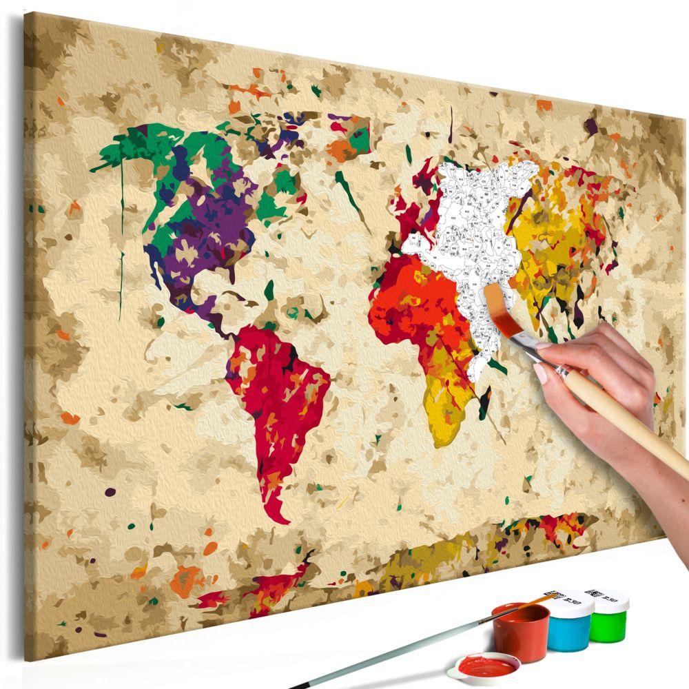 Declina Tableau à peindre par soi-même - Carte du monde (taches colorée)