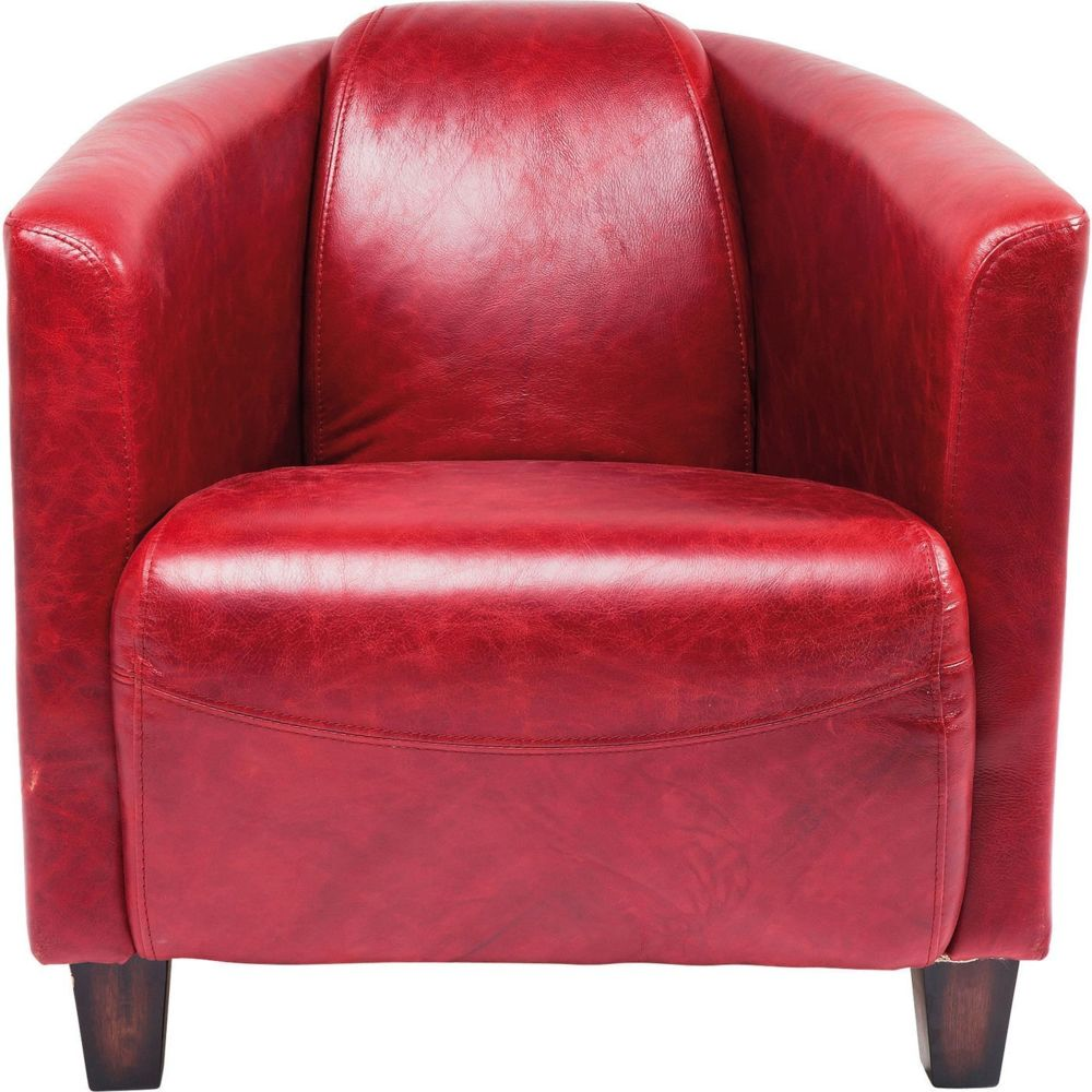 Karedesign Fauteuil Cigar Lounge cuir rouge Kare Design