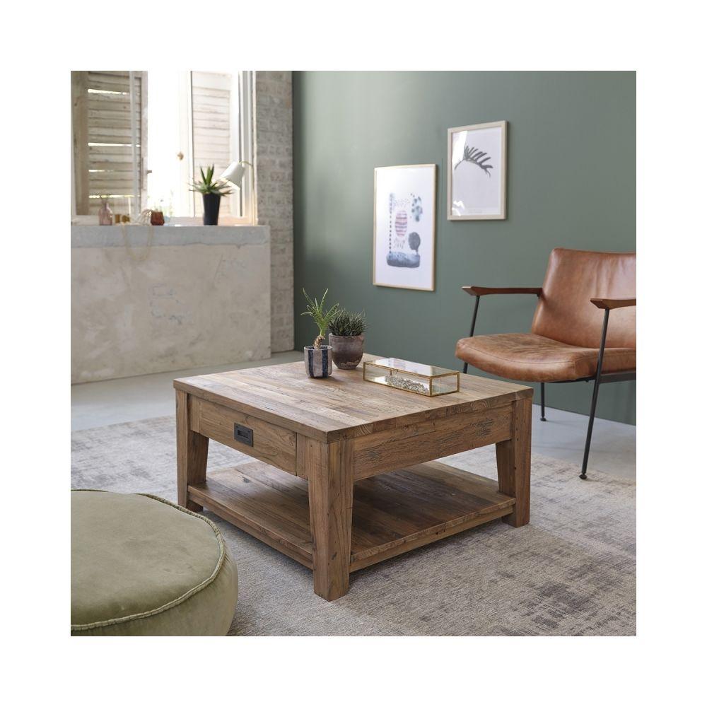 Bois Dessus Bois Dessous Table basse carrée en bois de teck recyclé avec tiroir 80