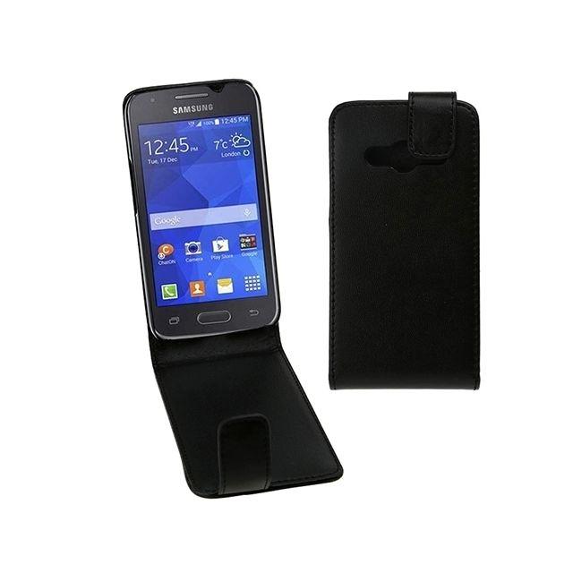 Housse Étui noir pour Samsung Galaxy Ace 4 / G313F en cuir à rabat magnétique