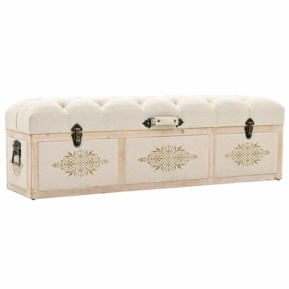 Helloshop26 Banquette pouf tabouret meuble banc de rangement bois massif et tissu 120 cm 3002181