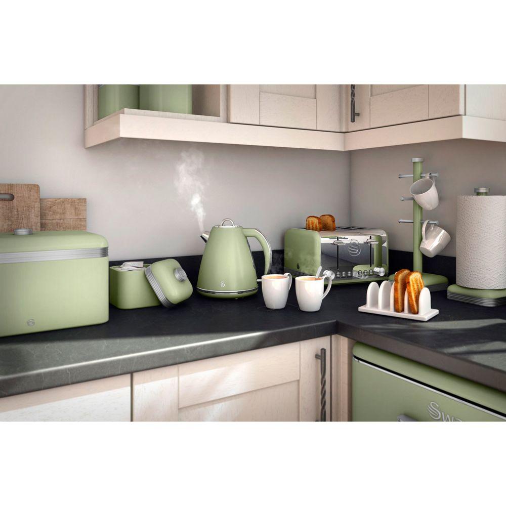 Swan Lot 3 Pots Récipients Cuisine Multifonctions Retro métal 1L design vintage Vert SWAN SWKA1020GN