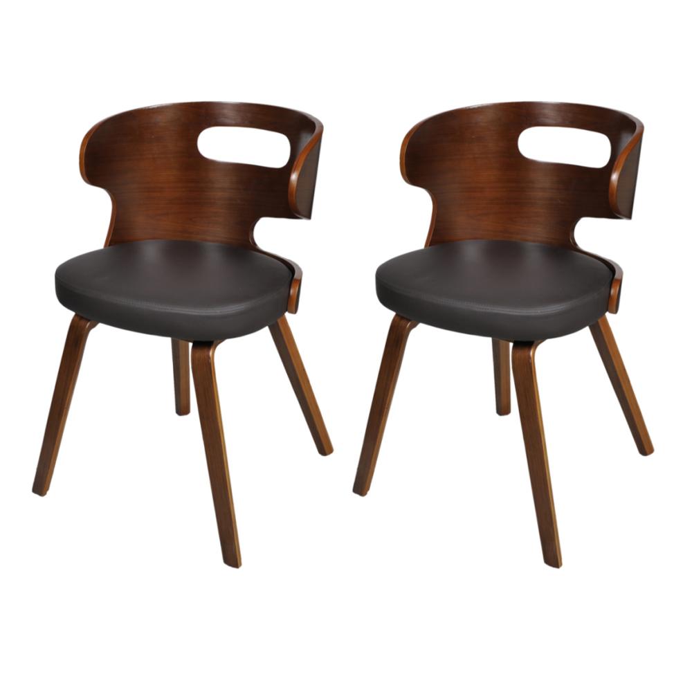 Helloshop26 2 Chaises de cuisine salon salle à manger design noir bois 1902040