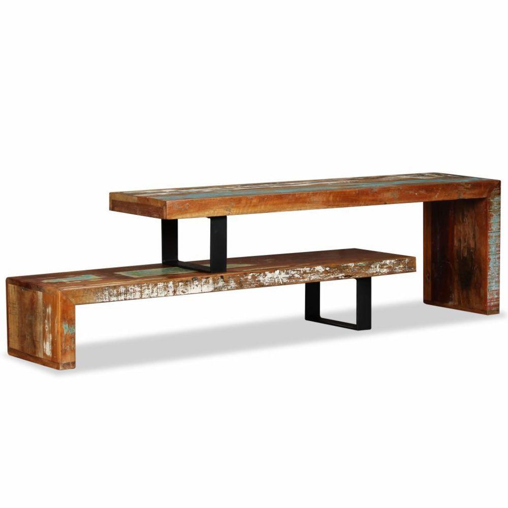 Helloshop26 Meuble télé buffet tv télévision design pratique bois de récupération massif 2502155