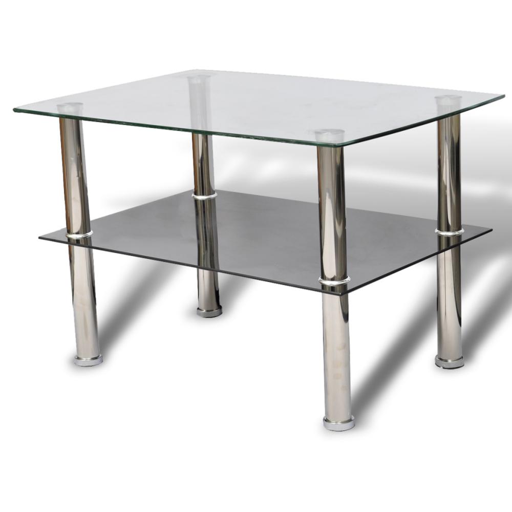 Helloshop26 Table basse de salon design verre noir blanc 2 plateaux 65 x 45 cm 0902029