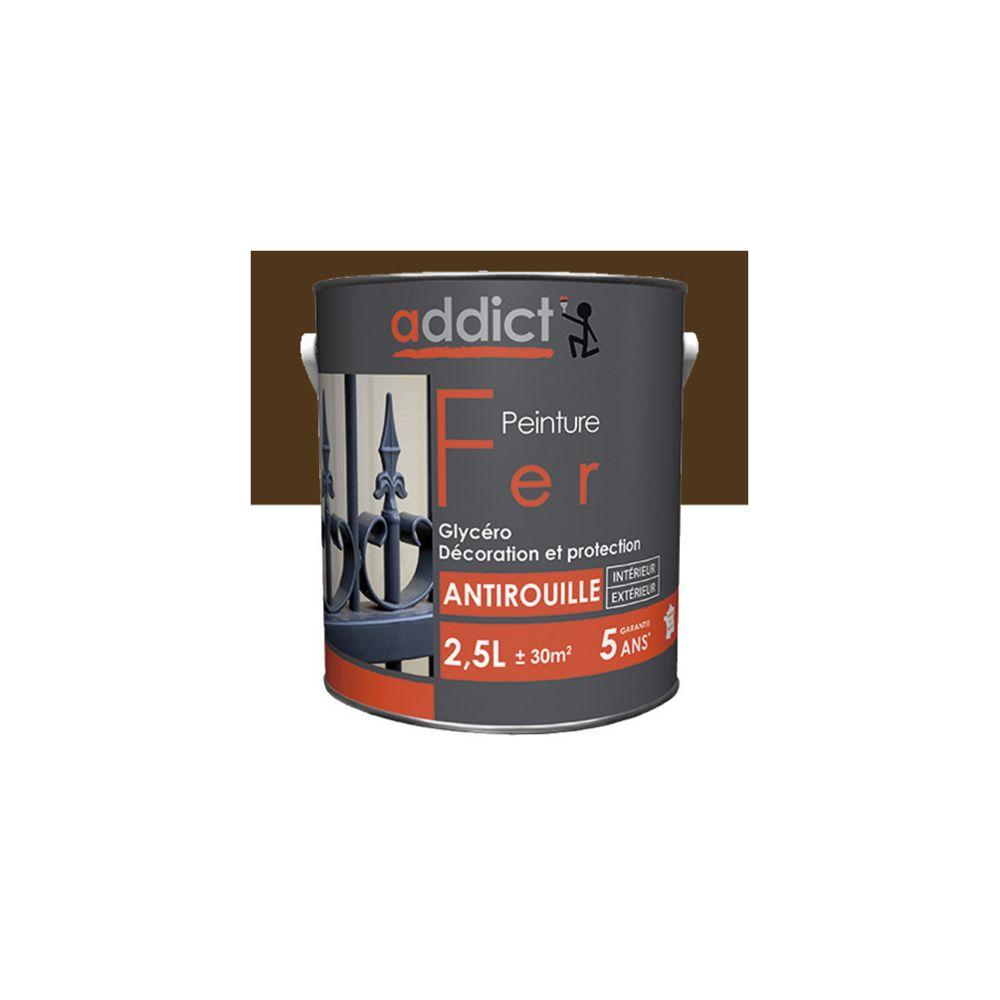 Addict Peinture laque Brillante pour le fer antirouille 2,5 L - Brun noyer - ADD111402 - Addict