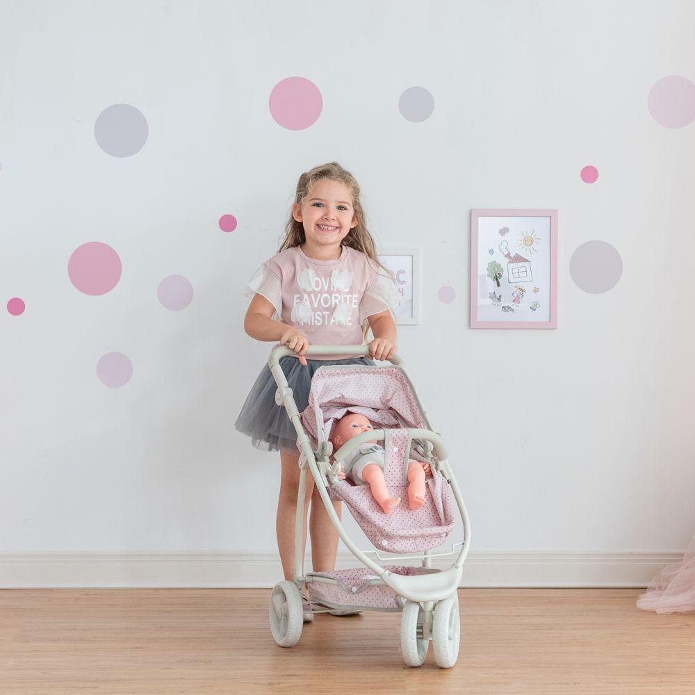 Olivia'S Little World Le petit monde d'Olivia - Poussette 2-en-1 Princesse à pois Polka Dots - Rose / Gris