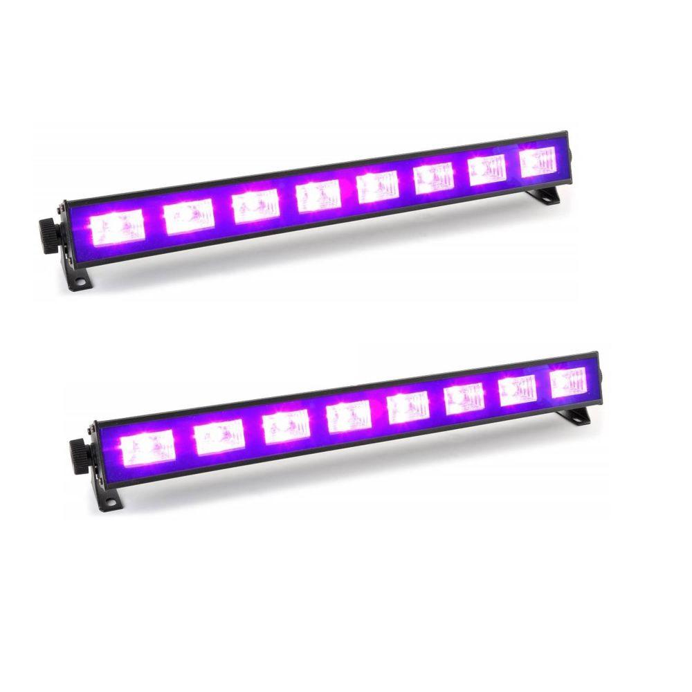 Ibiza Light Pack 2 Barres à LED FLUO UV 9x1W se reflète sur tissus blanc