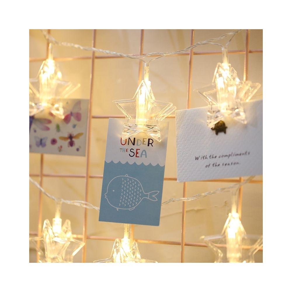 Wewoo 3m lumière colorée forme d'étoile clip photo LED guirlande lumineuse féerique, 20 LEDs alimenté par des chaînes lampe dé