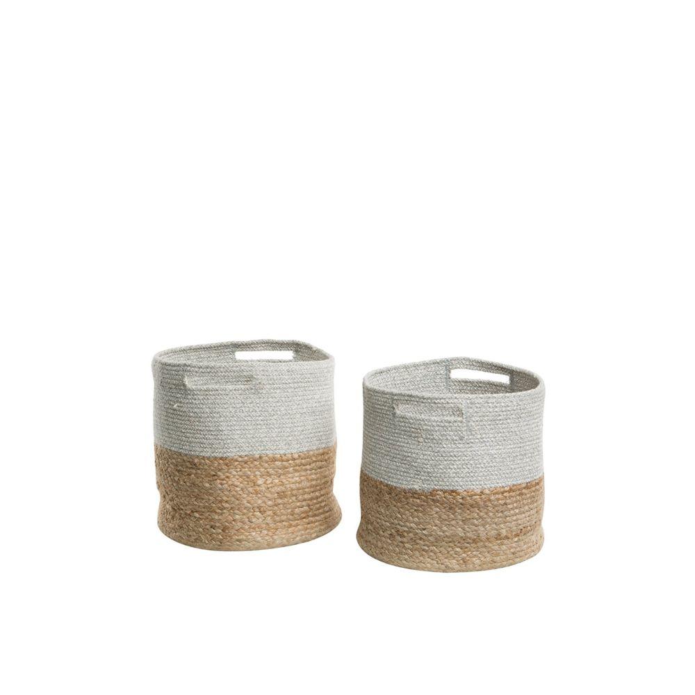 Beliani Lot de 2 corbeilles textiles beige et gris clair NAULLA