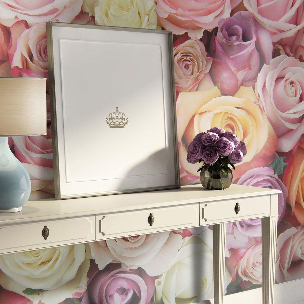 Bimago Papier peint - Pastel roses - Décoration, image, art   Fleurs   Roses  