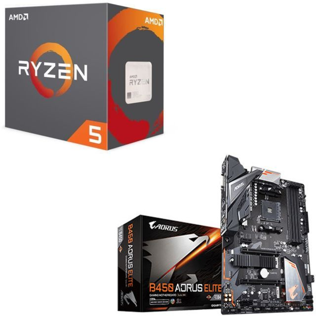 Amd - Ryzen 5 2600 Wraith Stealth Edition - 3,4/3,9 GHz + AMD B450 AORUS ELITE - ATX - Kit d'évolution