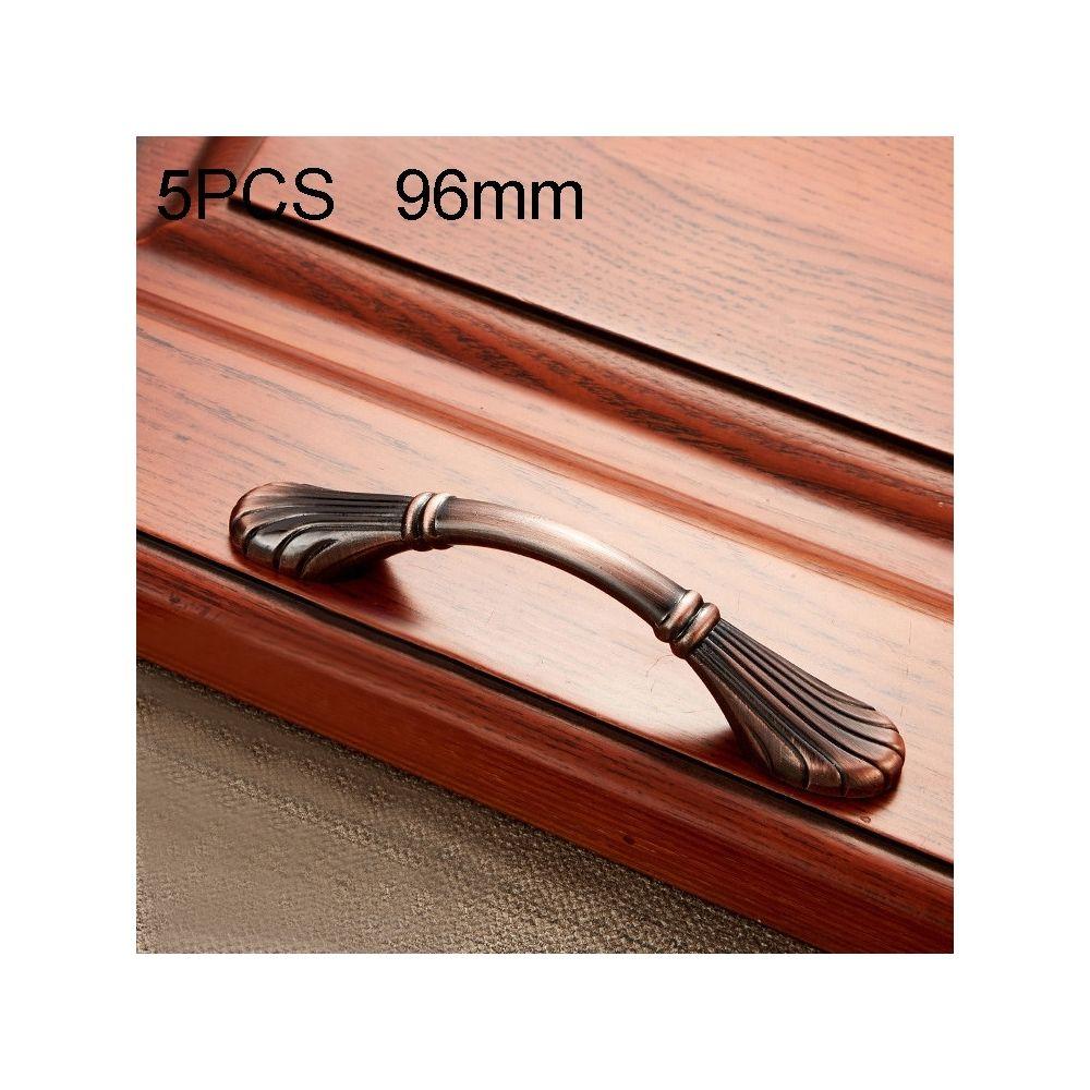 Wewoo Poignée d'armoire 5 PCS 6029-96 en bois massif avec poignées bronze rouge