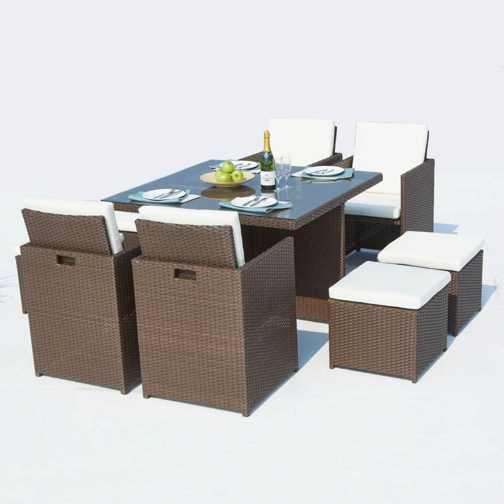 Concept Usine Monaco 8 : salon de jardin encastrable 8 places en résine tressée marron/blanc