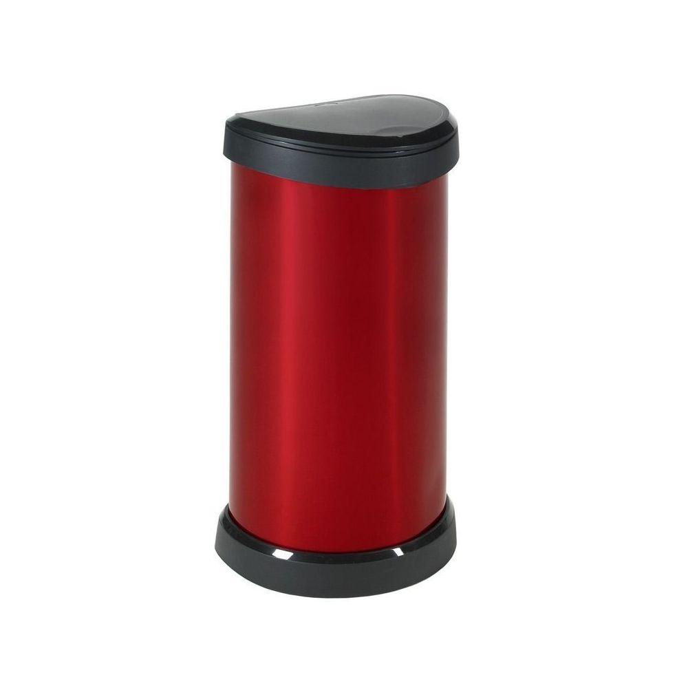 Curver Poubelle de cuisine à pression 40 Litres aspect métal ronde Bliss - Rouge - Sans sac poubelle