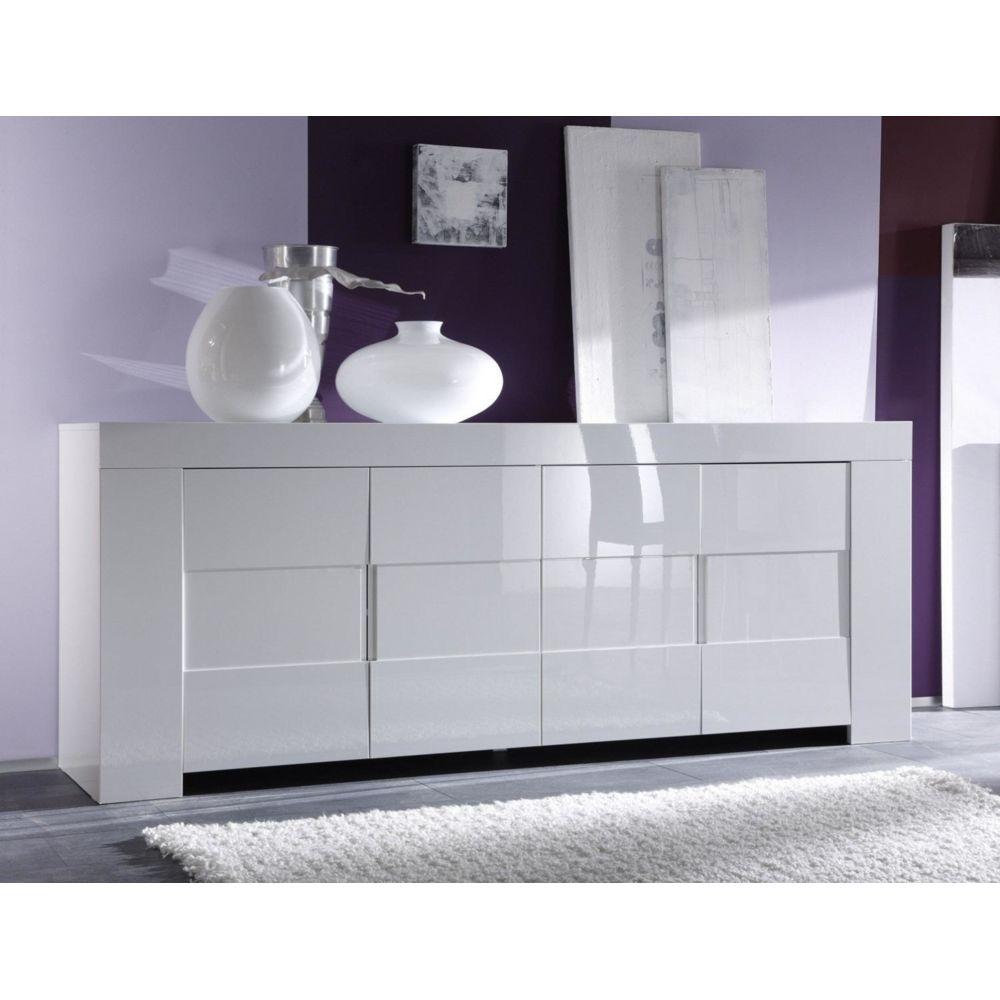 Sofamobili Buffet bahut blanc laqué 4 portes design ESMERALDA
