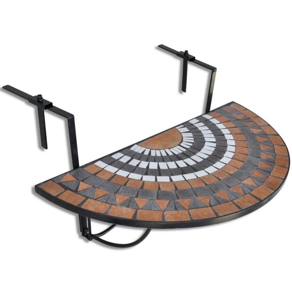 Uco UCO Table suspendue de balcon Terre cuite et blanc Mosaïque