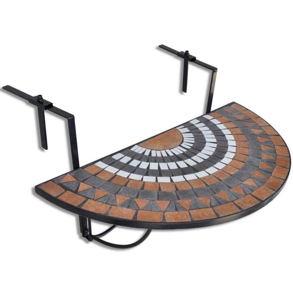 Vidaxl Table de balcon suspendue Demi-circulaire Terre cuite Blanc | Brun