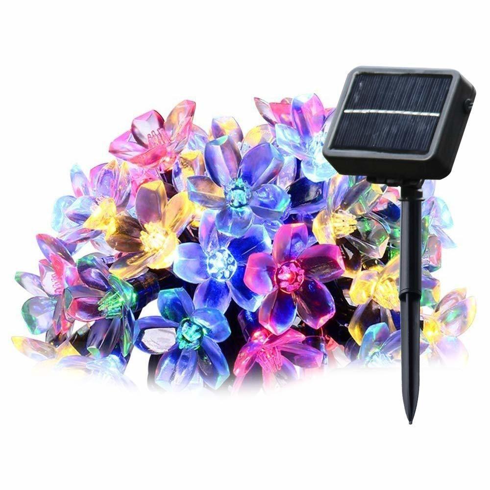 Salcar Guirlande Lumineuse Solaire à 20 LED Fleurs de Cerisier Multicolores 5 m Décoration pour la Maison, l'extérieur, Le Jard