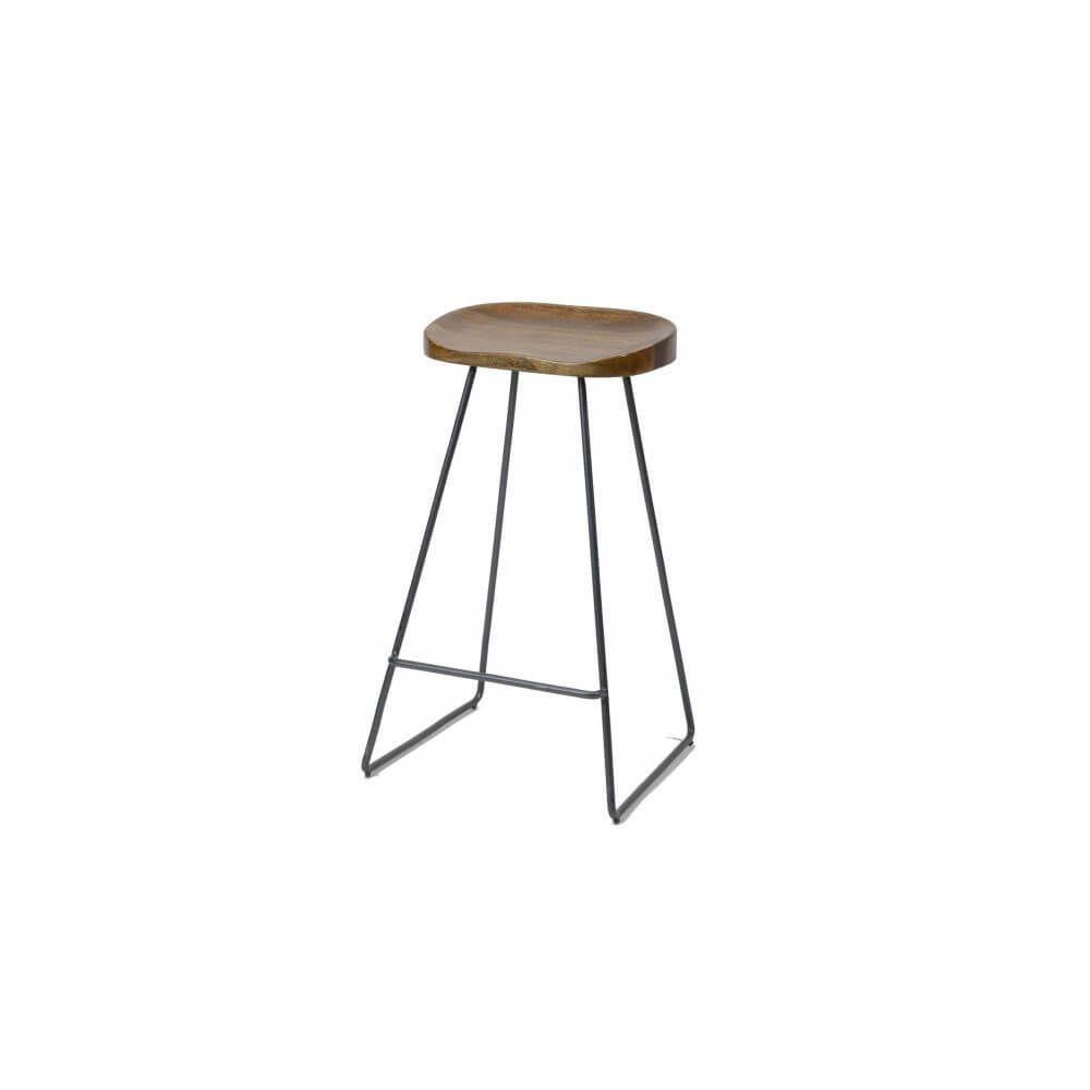 Mathi Design WOOD - Tabouret de bar minimaliste en bois et acier