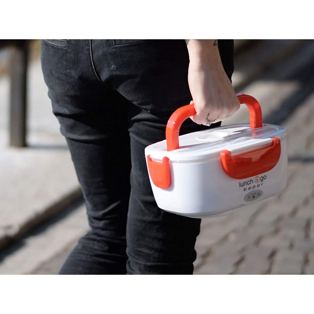 Beper Lunch box boite repas chauffante Pro de 1L 220V rouge blanc