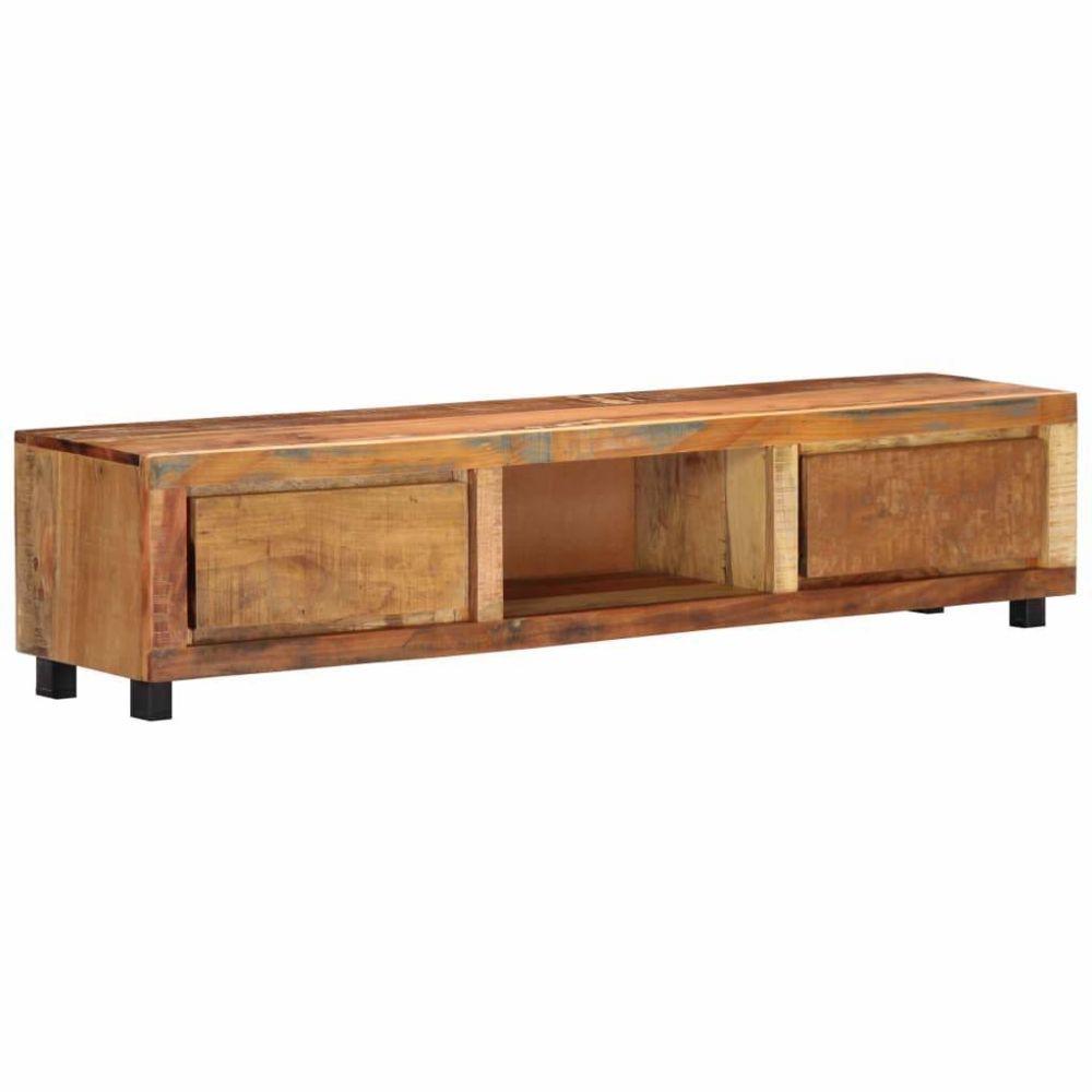 Helloshop26 Meuble télé buffet tv télévision design pratique 150 cm bois de récupération massif 2502077