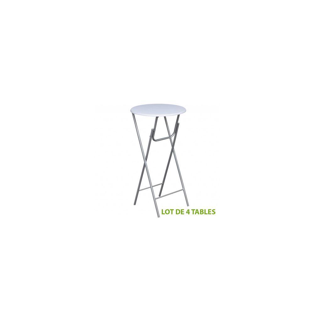 Destockoutils Tables de bar pliante (lot de 4) haute mange debout Ø 60cm H 112cm