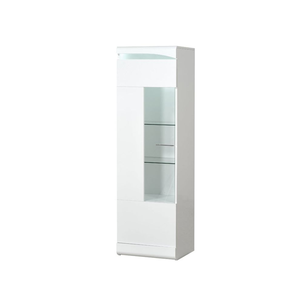 Tousmesmeubles Colonne vitrée 1 porte Blanc laqué brillant à LEDs - PESMES
