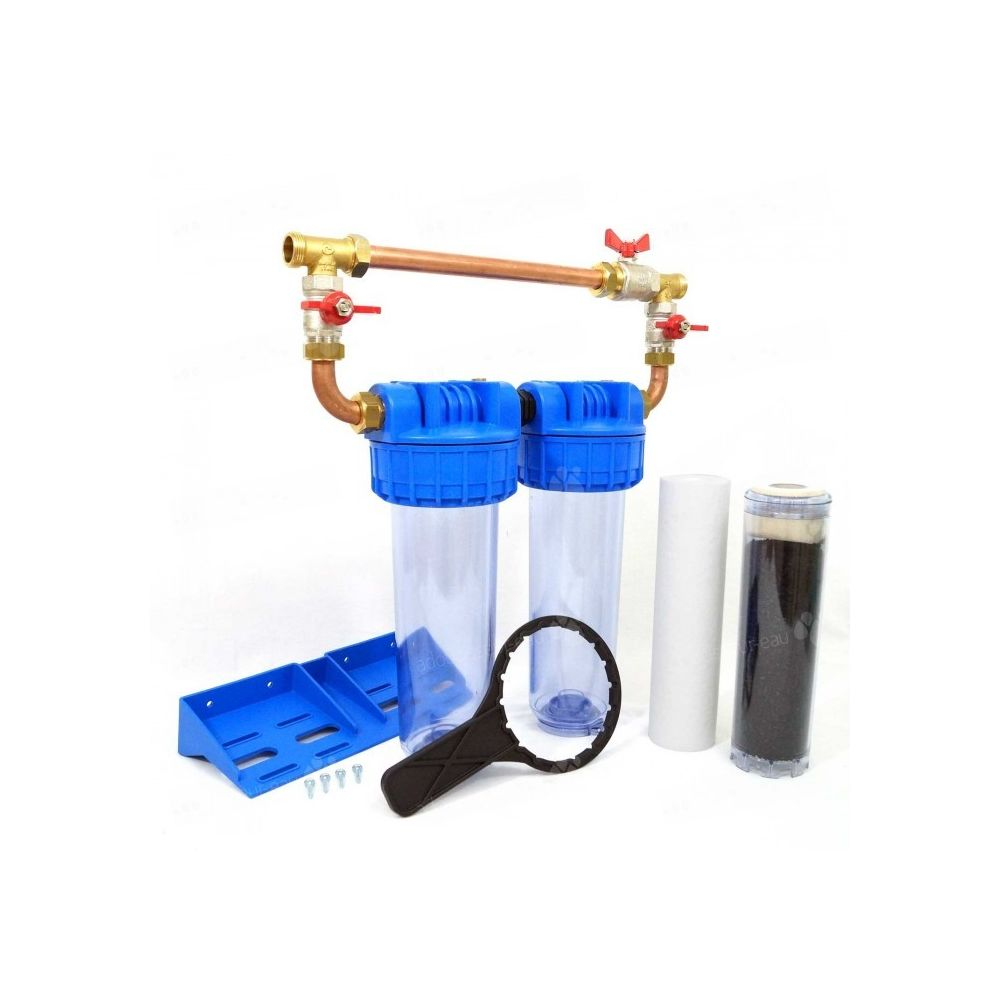Toodo Double porte filtre à eau 93/4 - 26/34F avec cartouche 20µm + CA + by-pass