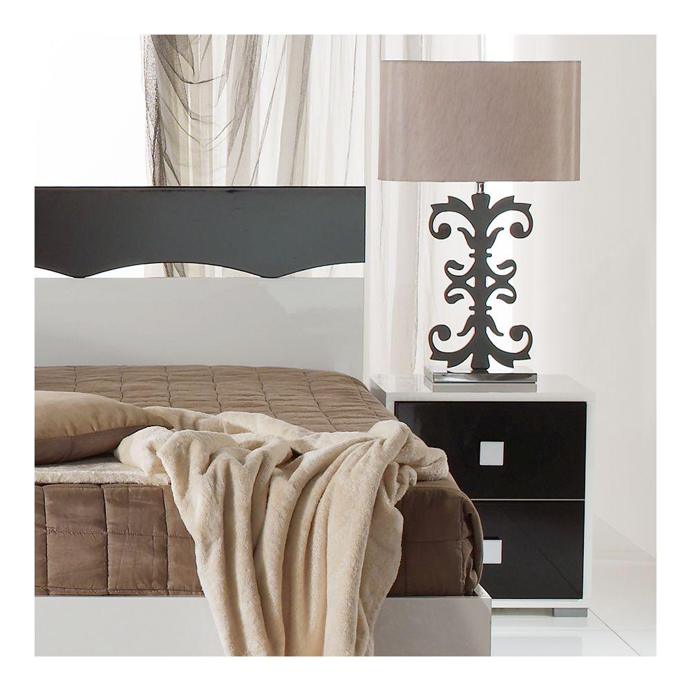 Nouvomeuble Table de chevet noir et blanc design DAFINA