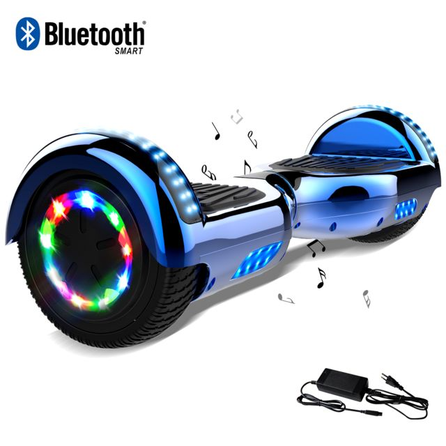 Cool And Fun - Cool&Fun Hoverboard 6.5 Pouces, Gyropode avec Bluetooth et Pneu à LED de couleur, Overboard Certifé CE, UL, Bleu Chromé Cool And Fun   - Gyropode, Hoverboard