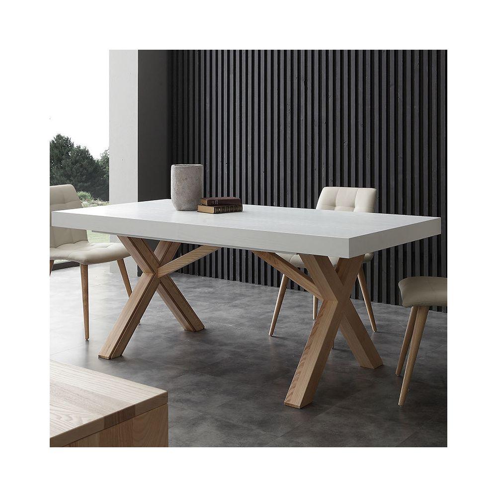 Nouvomeuble Table à manger extensible bois et blanc HESTIA