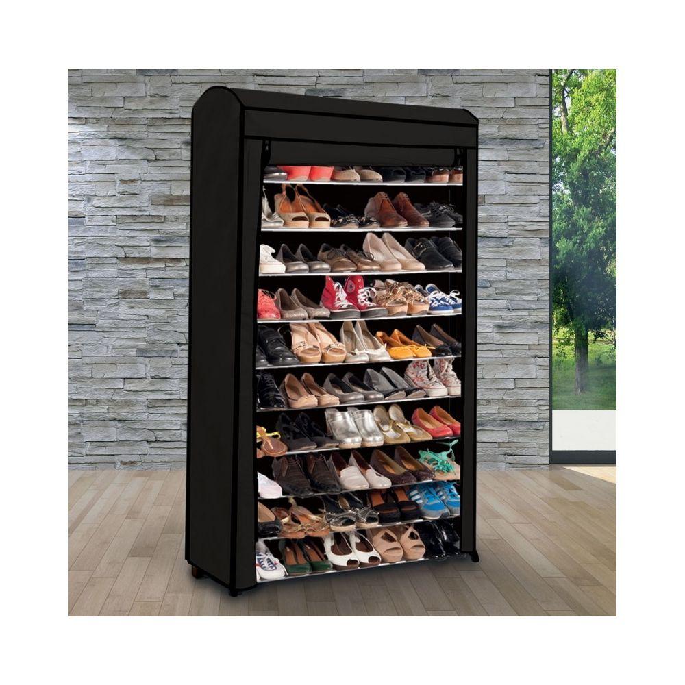 Idmarket Etagere Range Chaussures 50 Paires Modulable Housse Noire Rangements A Chaussures Rue Du Commerce