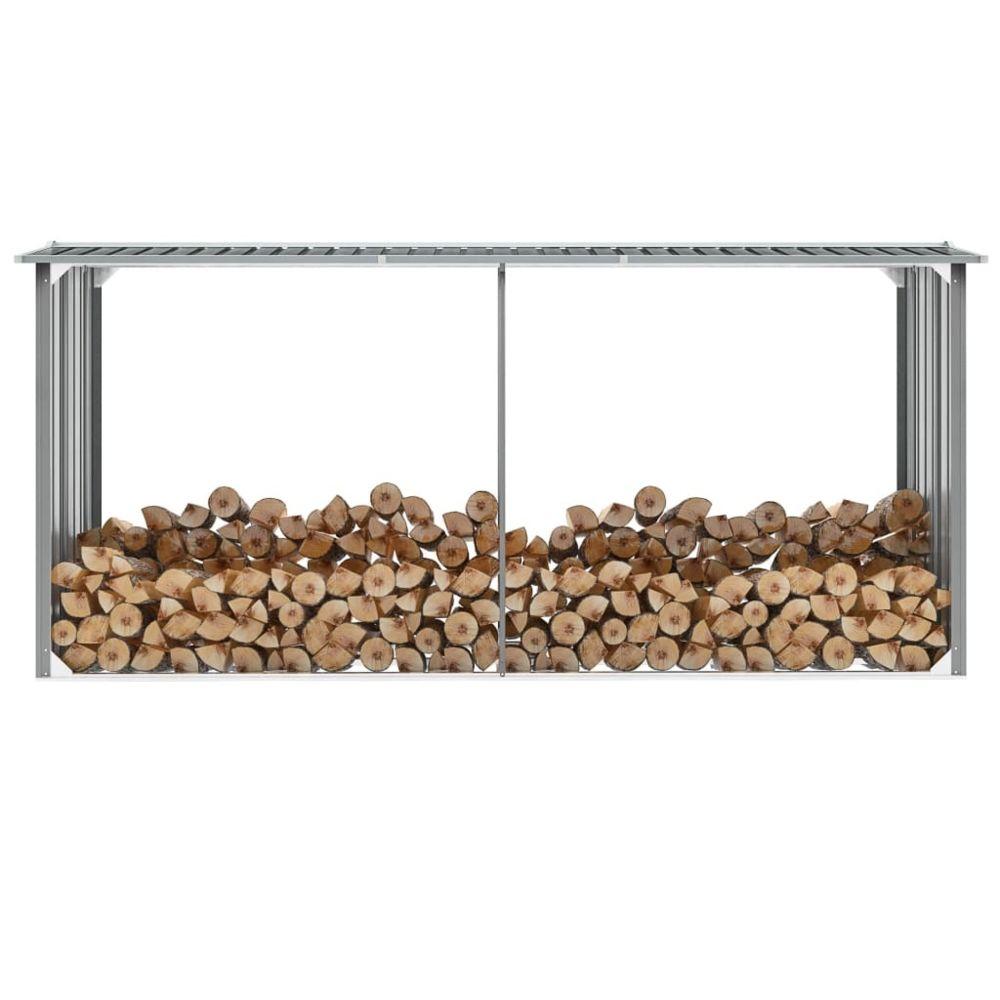 Vidaxl Abri de stockage de bois Acier galvanisé 330x92x153 cm Gris - Accessoires pour range-bûches et porte-bûches | Gris | Gri