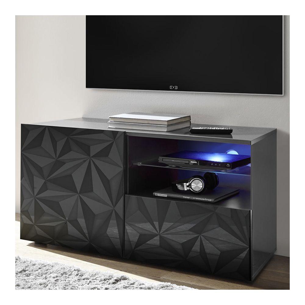 Sofamobili Meuble TV 120 cm gris laqué design ANTONIO 3