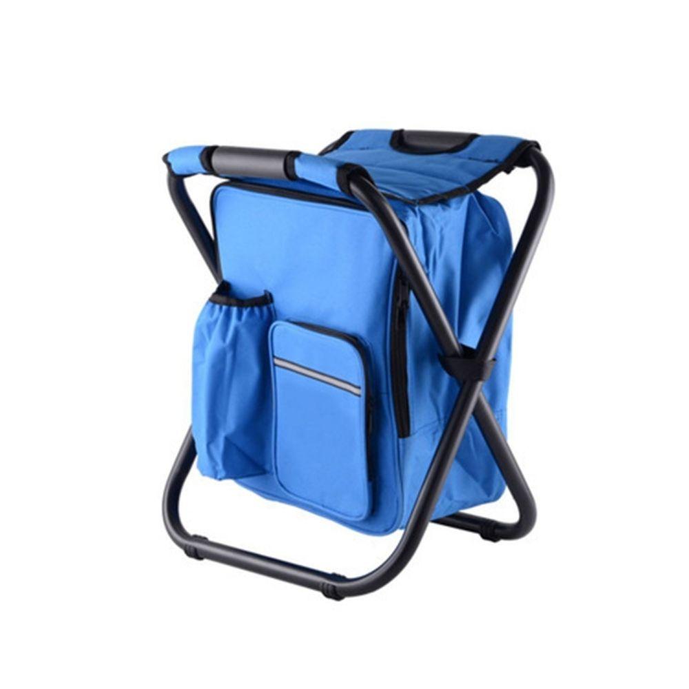 Wewoo Chaise de camping pliante portable de plein air de plage de pêche en acier inoxydable de avec sac de glace bleu