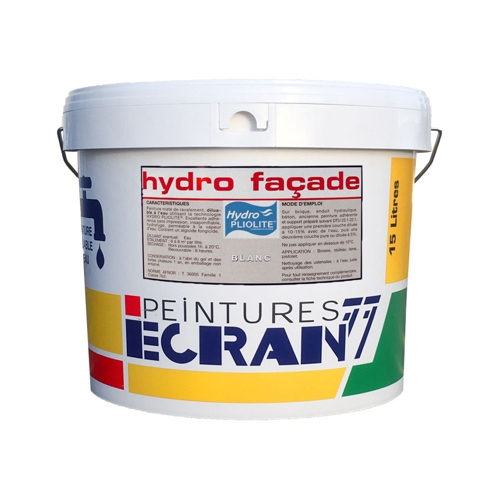 Peintures Daniel Peinture professionnelle hydro pliolite, protection et décoration façades extérieures, HYDRO FACADE-15 litres-Blanc
