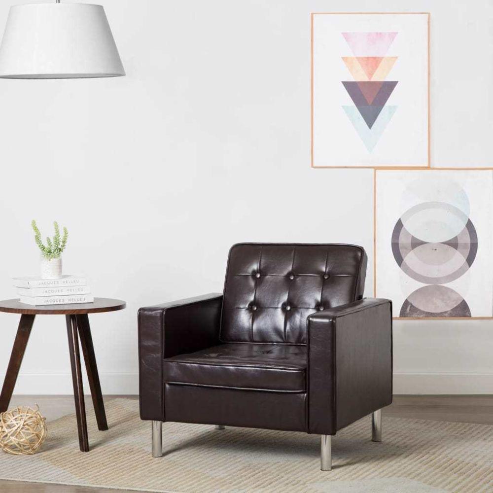Vidaxl Fauteuil Revêtement simili-cuir Marron 75 x 70 x 75 cm   Brun - Fauteuils club, fauteuils inclinables et chauffeuses lit