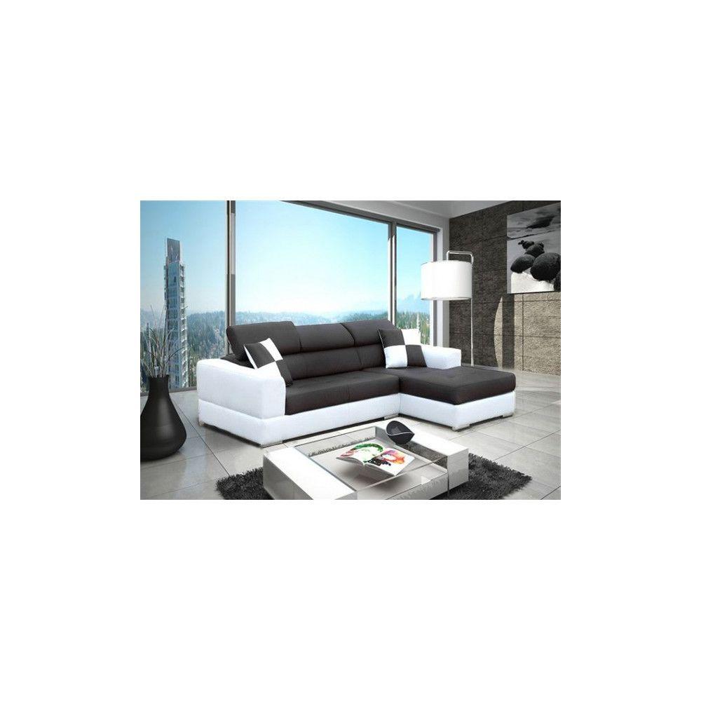 Meublesline Canapé d'angle 4 places NETO moderne noir et blanc simili cuir