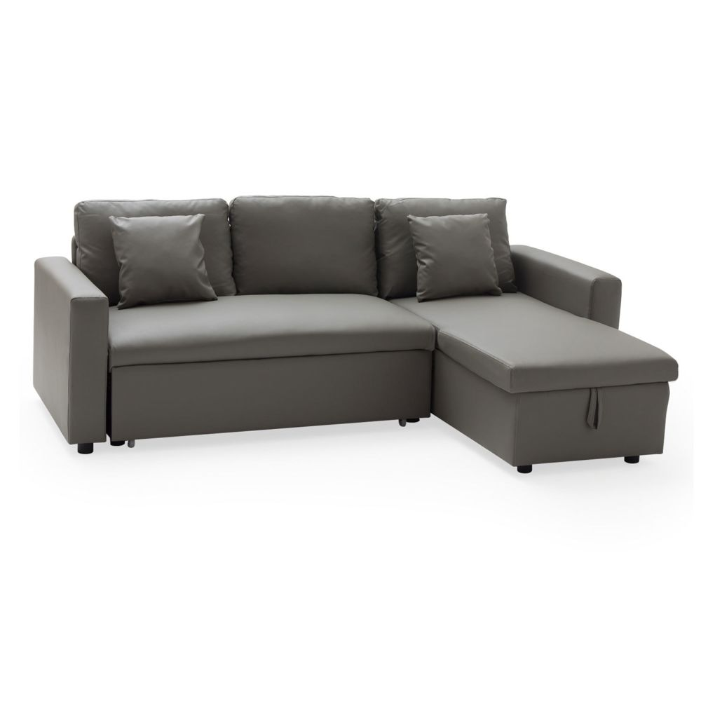 Happy Garden Canapé d'angle convertible simili cuir CLARK 3 places taupe